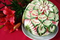 Incredible carved watermelon present and flowers Stock Images