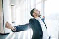 Incredible joy of businessman. Royalty Free Stock Photo