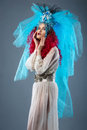 Incredibly fashion girl with red hair in crown and veil Royalty Free Stock Photo