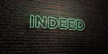 INDEED -Realistic Neon Sign on Brick Wall background - 3D rendered royalty free stock image Royalty Free Stock Photo