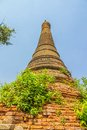 Indein inle lake ancient stupa at overgrown with plants myanmar Royalty Free Stock Image