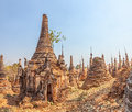 Indein inle lake ancient stupas at myanmar Royalty Free Stock Images