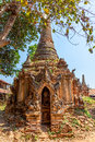 Indein inle lake ancient stupas at overgrown with plants myanmar Stock Photography