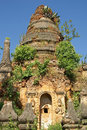 Indein inle lake myanmar pagoda ruins of Royalty Free Stock Photography