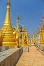 Indein inle lake renovated ancient stupas at myanmar Royalty Free Stock Photography