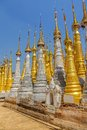 Indein inle lake renovated ancient stupas at myanmar Stock Images