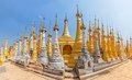 Indein inle lake renovated ancient stupas at myanmar Royalty Free Stock Photo