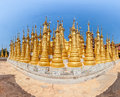 Indein inle lake renovated ancient stupas at myanmar fisheye lens shoot Royalty Free Stock Photos