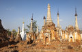 Indein old pagodas in myanmar burma southeast asia Stock Photography