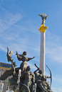 The Independence Column and the Monument of Founders of Kiev Royalty Free Stock Photography