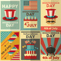 Independence day american posters set in retro style fourth of july illustration Royalty Free Stock Photos