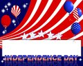 Independence day background a beautiful text and balloons with the pattern of the american flag Royalty Free Stock Photos