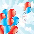 Independence day background with flying balloons in the sky july blue and red vector Royalty Free Stock Photography