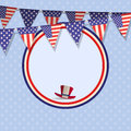 Independence day background vector with bunting and border Royalty Free Stock Photo
