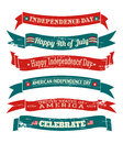 Independence day banners collection a set of six grungy us isolated on white background Stock Photography