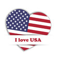 Independence Day Card. US flag in a shape of heart in the paper pocket with label I love USA. Patriotic independence Royalty Free Stock Photo