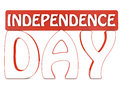 Independence day d text in white and red color Royalty Free Stock Image