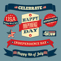 Independence day design elements set a of retro style for Royalty Free Stock Image
