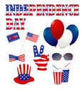 Independence day design elements set in white accessories with american national symbols raster and vector versions Royalty Free Stock Photo