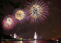 Independence day firework views from hoboken new jersey Stock Photo