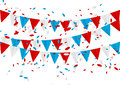 Independence day flags with confetti isolated Royalty Free Stock Photography