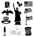 Independence day icons set of black illustration Royalty Free Stock Photography