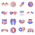Independence day icons set, cartoon style
