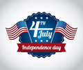 Independence day illustration over gray background Royalty Free Stock Images