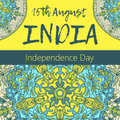 Independence Day of India. 15 th of August with mandala. Oriental pattern, illustration. Islam, Arabic Indian turkish motif