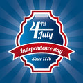 Independence day label over blue background Royalty Free Stock Images