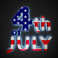 Independence day text th of july with backlight effect on the black background Royalty Free Stock Photos