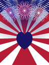 Independence Day USA background with heart.