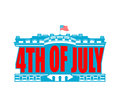 Independence Day USA emblem. White house. America Patriotic Royalty Free Stock Photo