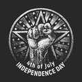 Independence day. Vector chalk drawing on textured blackboard