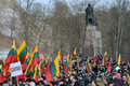 Independence day vilnius lithuania around one thousand people gathered with flags in a nationalist rally at gedimino avenue on re Stock Photo
