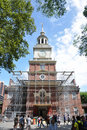 Independence Hall in summer restoration Royalty Free Stock Photo