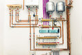 Independent heating system in boiler house Royalty Free Stock Images