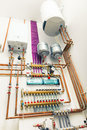 Independent heating system in boiler house Stock Images
