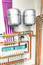 Independent heating system in boiler room Royalty Free Stock Photography