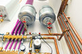 Independent heating system in boiler room abstract view of Royalty Free Stock Photography