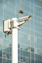 Independent security cameras in the city Stock Photos