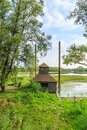 Birdhouse in overflow basin of river Waal in the Millingerwaard surrounded with flood plain forests Royalty Free Stock Photo