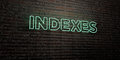INDEXES -Realistic Neon Sign on Brick Wall background - 3D rendered royalty free stock image