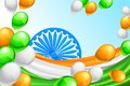 India background illustration of in indian tricolor balloon and flag of Royalty Free Stock Photo
