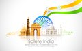 India background illustration of wavy indian flag with monument Royalty Free Stock Photography