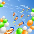 India background vector illustration of in indian tricolor balloon with firecracker Stock Photos