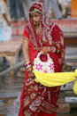 An India bridal in red traditional dress,Vanarasi Royalty Free Stock Photo