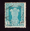 stock image of  INDIA - CIRCA 1950: Cancelled postage stamp printed by  Indian mind shows four Indian lions capital of Ashoka Pillar, circa 1950