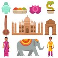 India collection set with traditional symbols of country, travel to India, signs of traditional Indian culture vector Royalty Free Stock Photo