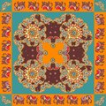 India. Ethnic bandana print with ornament border. Silk neck scarf Royalty Free Stock Photo